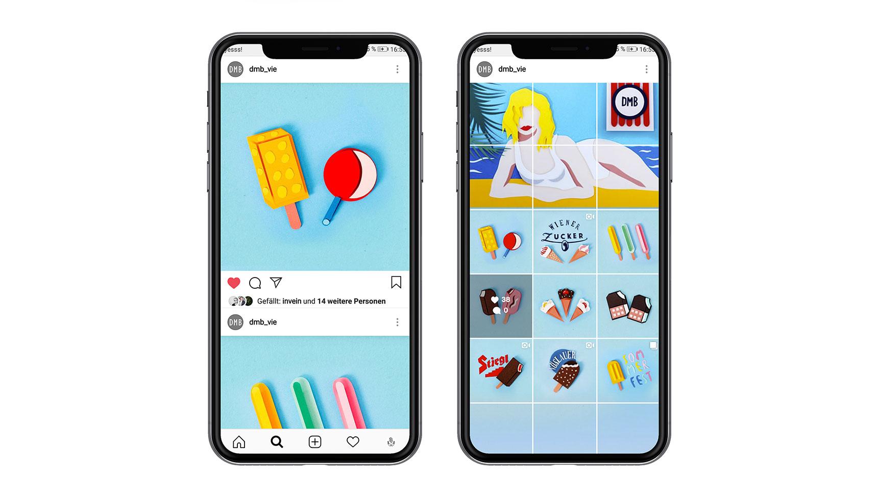 Retro Paper Craft Ice Cream Menu Instagram Mockup
