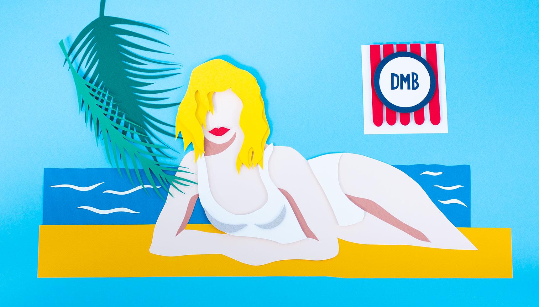 Frau Bikini Palmen Meer aus Papier, Making Of Logo Papier