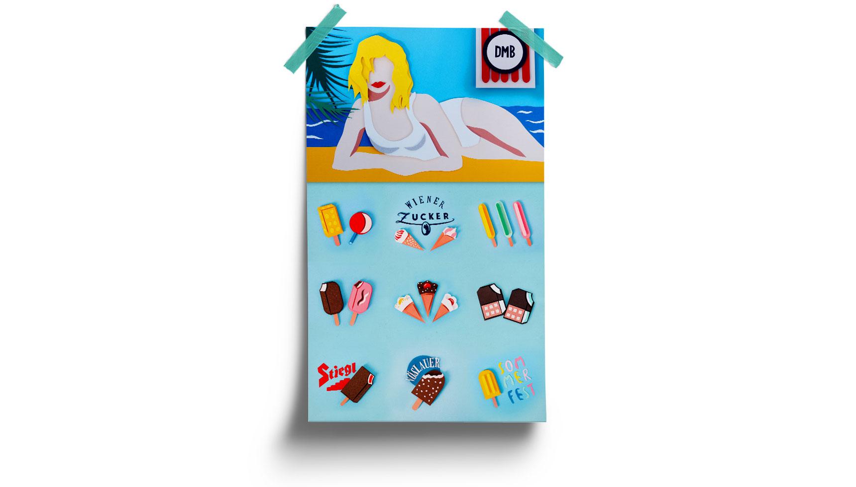 Retro Paper Craft Ice Cream Menu Poster