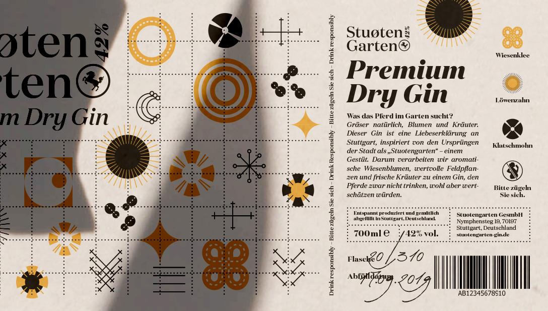Gin Etikett Beige Schwarz Icons Abstrakt Blumen Geometisch