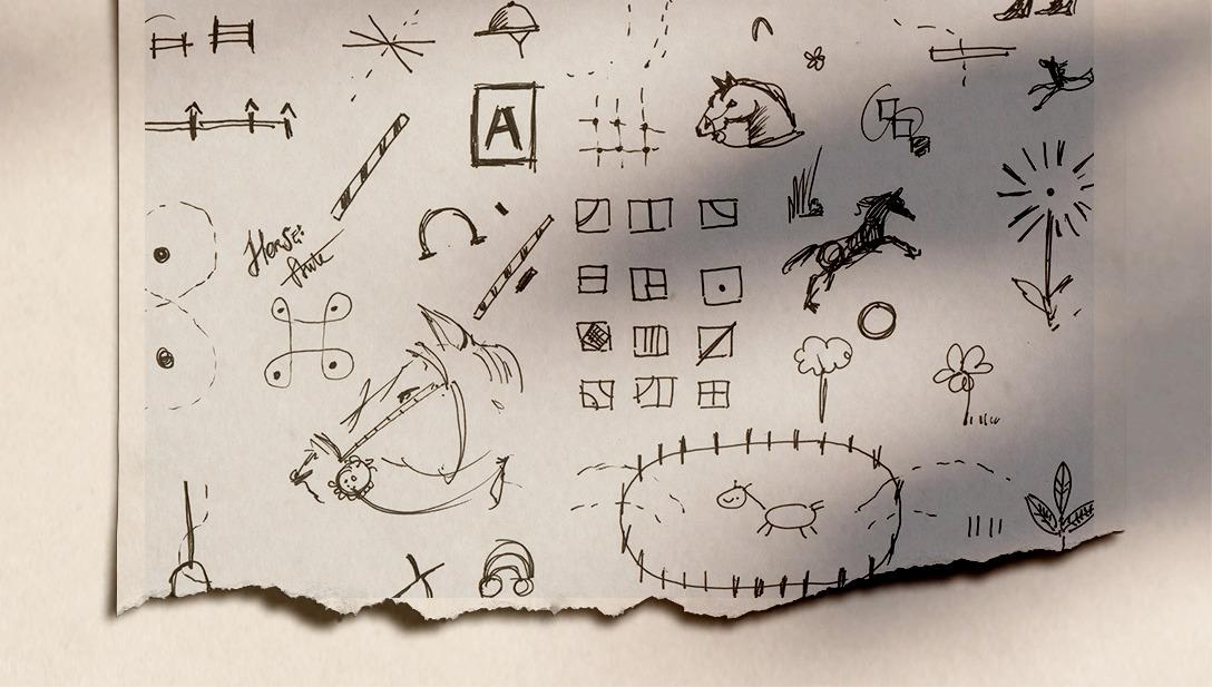 Scribbles Horses Skizzen Pferde Papier