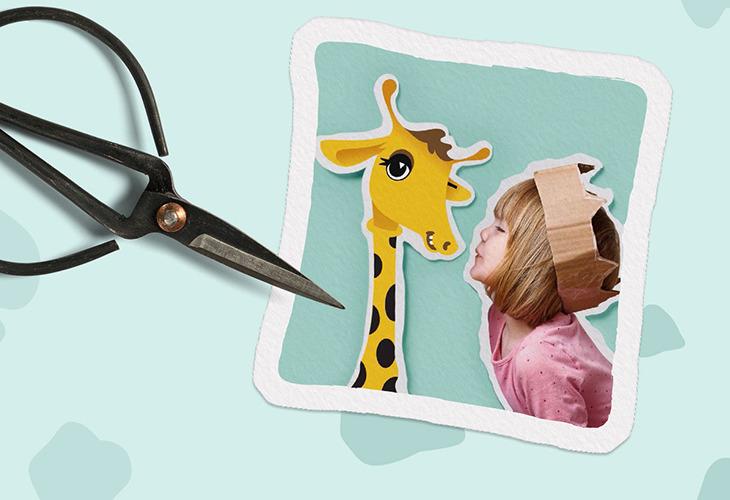 Shira Bild Giraffe Schere Mädchen ausgeschnitten