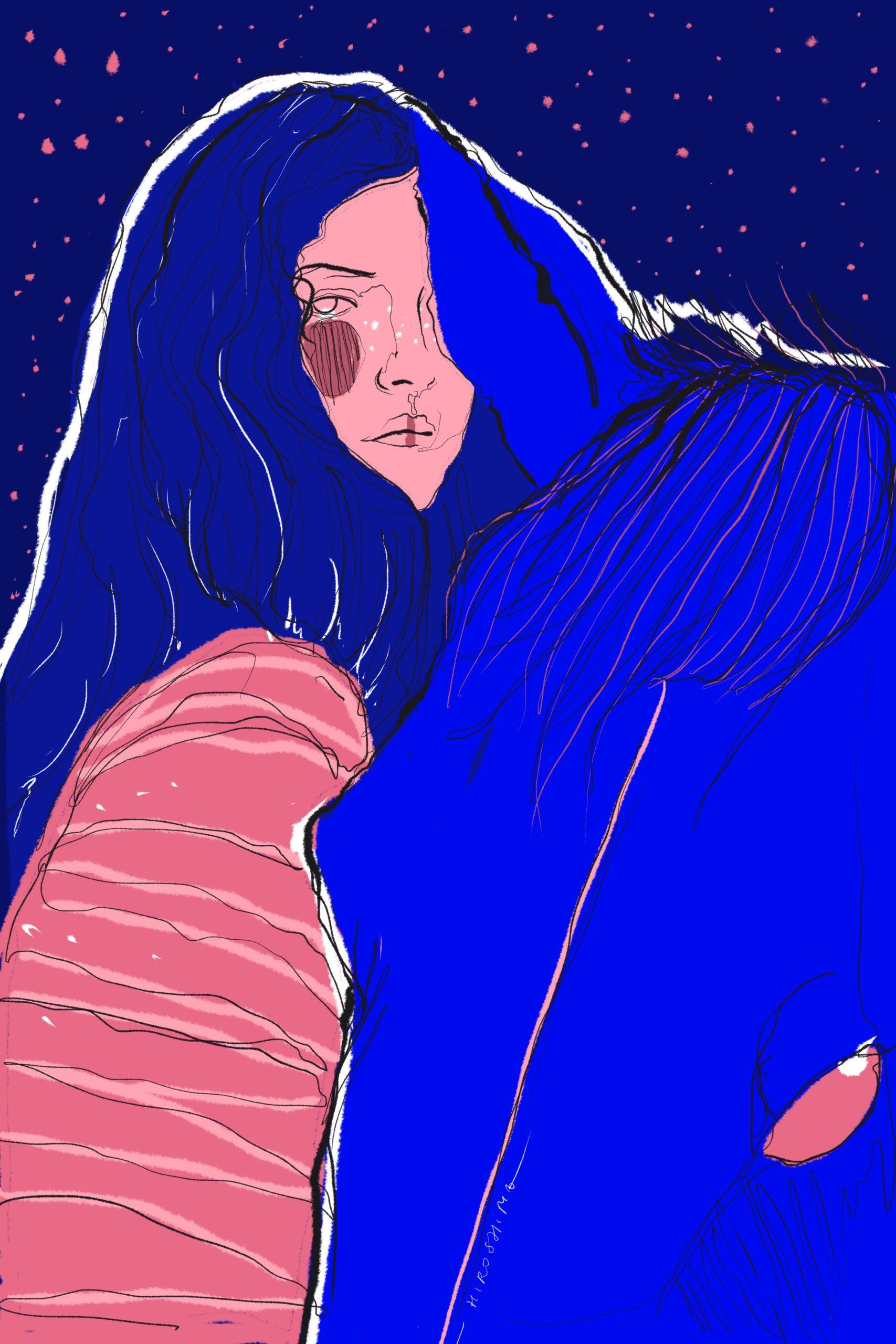 Comic Illustration Procreate Blue Pink Woman Girl Horse Melancholy Melancholic Eyes