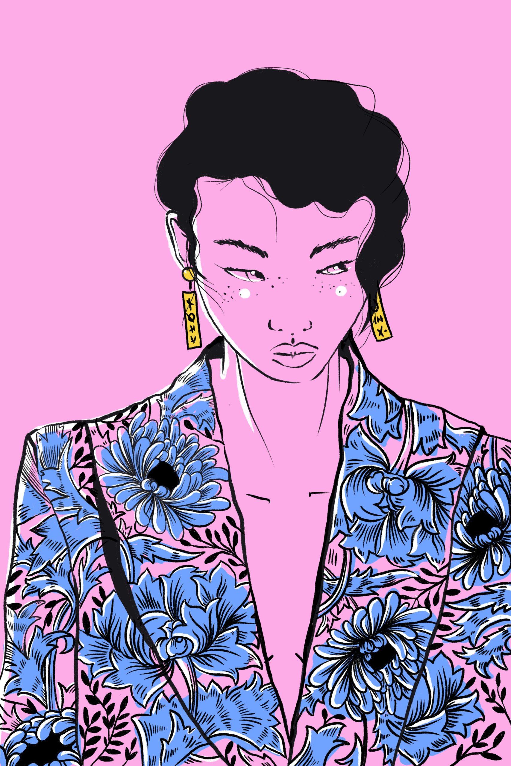 Illustration Digital Asian Trans Earring Jacket Flower Blumenmuster Rosa Blau Gelb