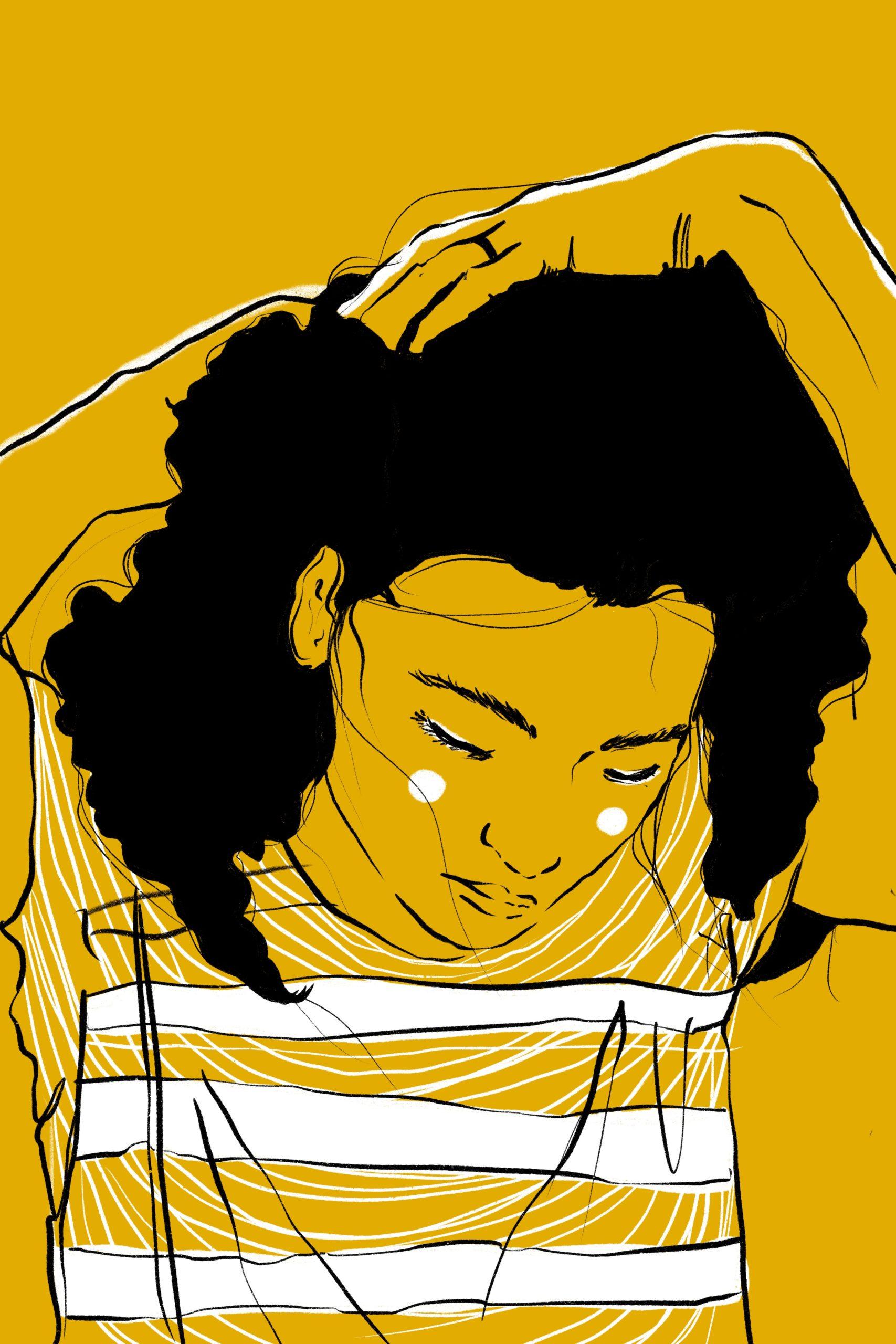 Illustration Woman Girl Frau Haare Locken Tshirt Strähnen Wangen Gelb