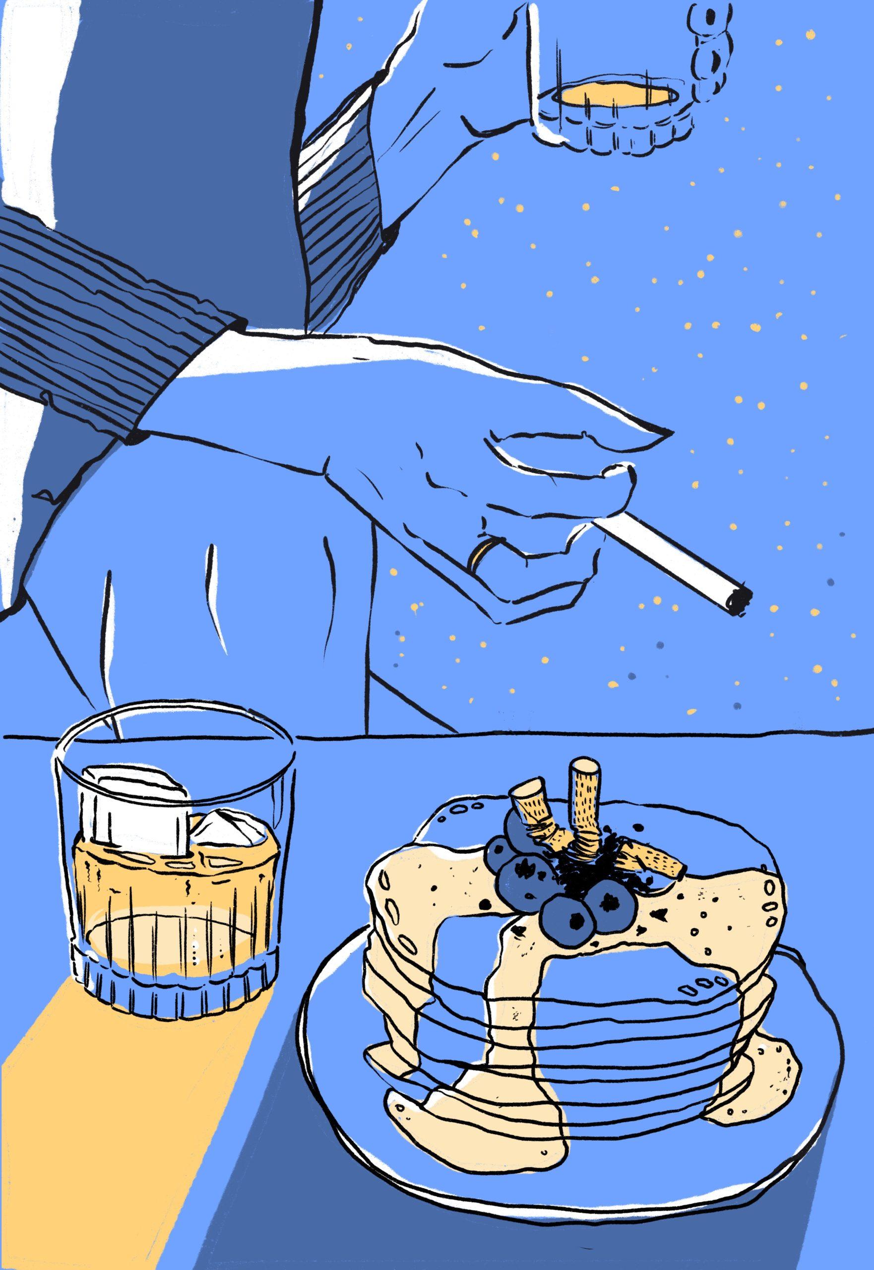 Illustration Procreate Outline Schwarz Blau Gelb Pancakes Cigarette Zigaretten Melancholy Hand Alkohol