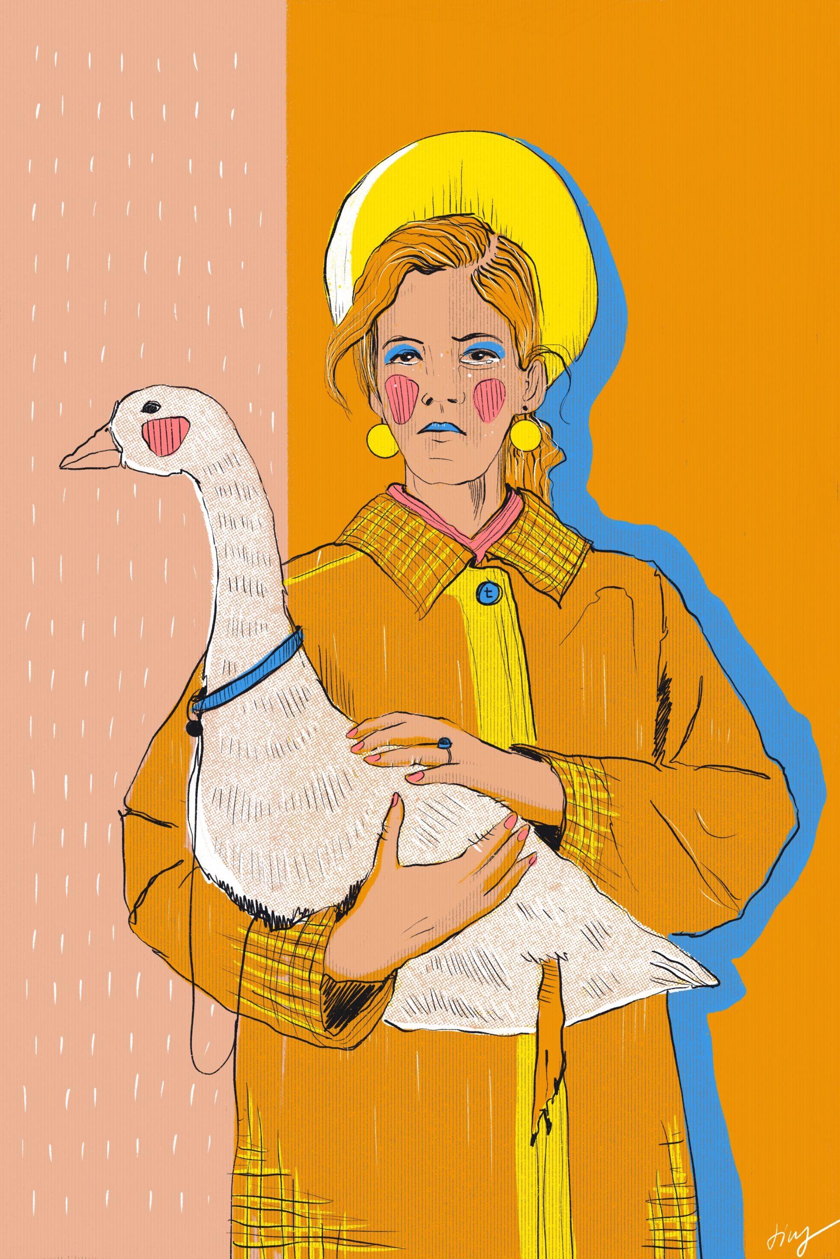 Comic Illustration Goose Gans Frau Mantel Regen Rain Hausmauer Sparzierengehen
