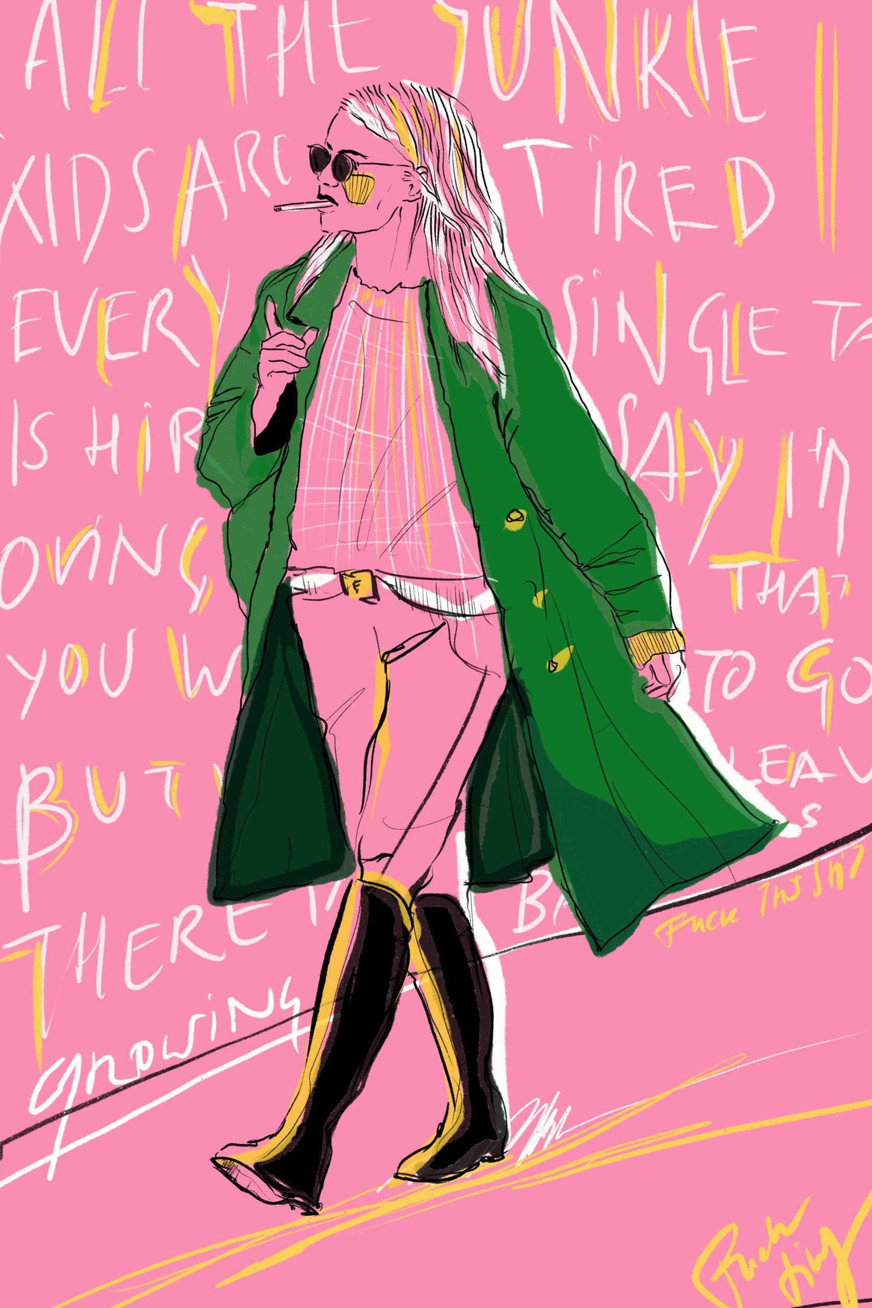 Comic Illustration Woman Coat Green Pink Stiefel Zigarette Song Lyrics