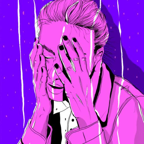 Illustration Procreate Digital Outline Comic Depression Drunk Violett Rosa Pink