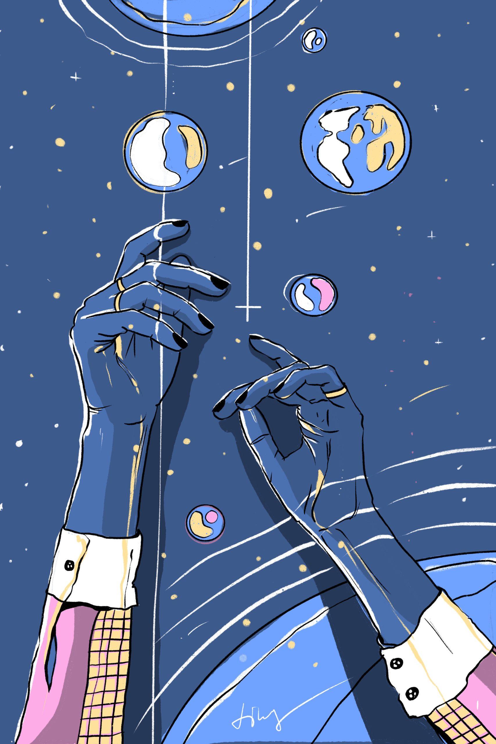 Illustration Digital Procreate Blue Universe Universum Melancholic Bubbles Erde Earth Stars Black Nail Varnish