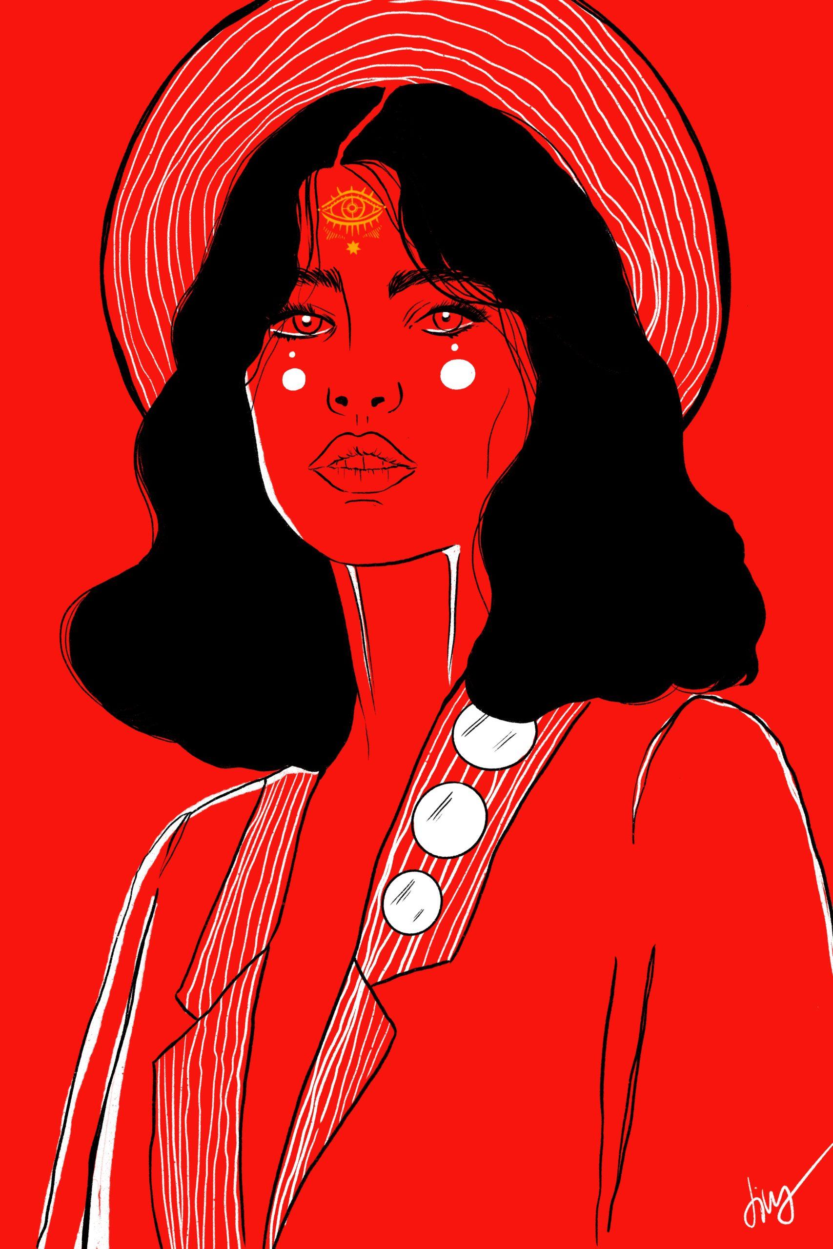 Illustration Ink Procreate Schwarz Rot 3. Auge Frau Woman White Hut Hat