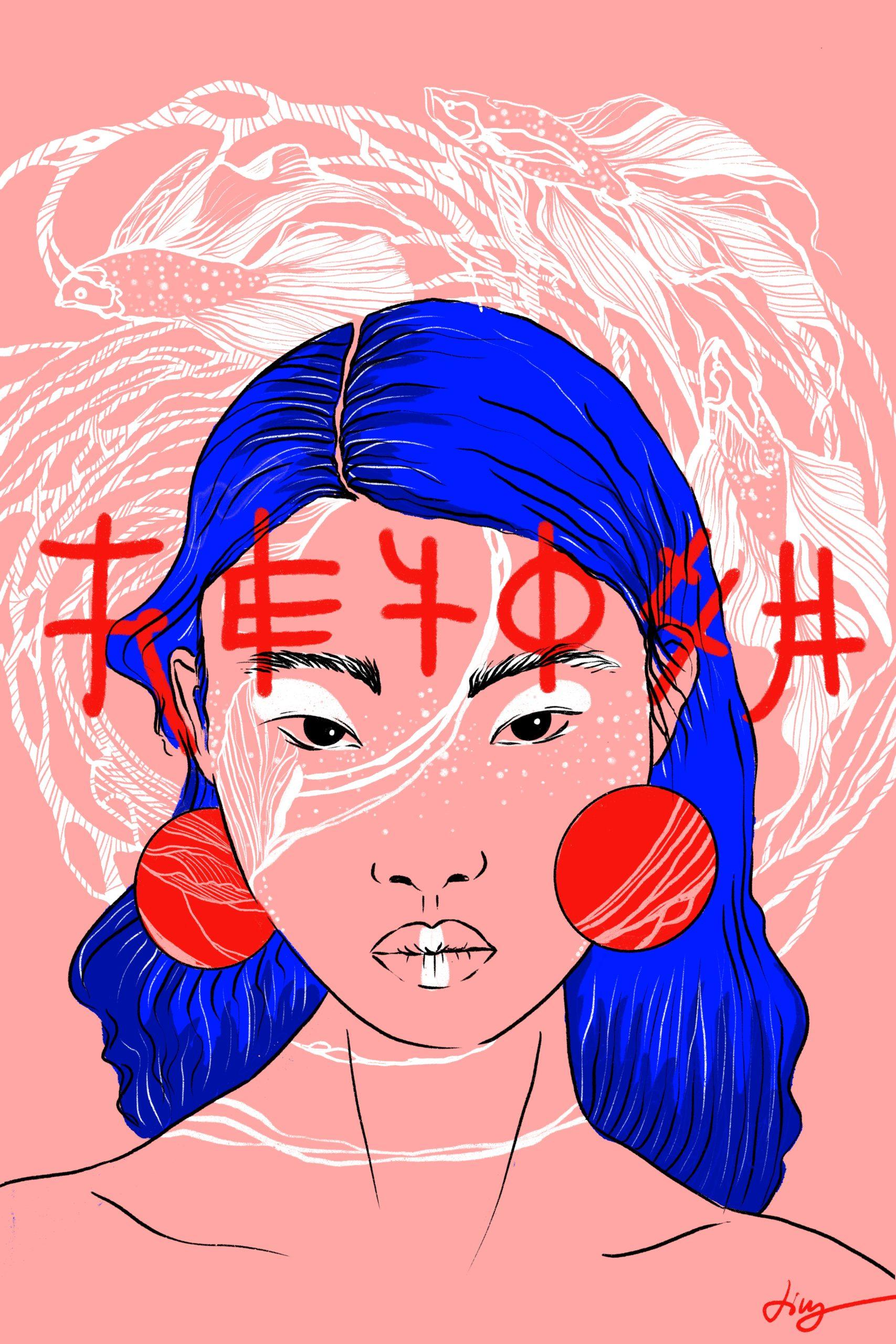 Illustration Digital Procreate Rosa Rot Blau Frau Ohrringe Schriftzeichen Fische