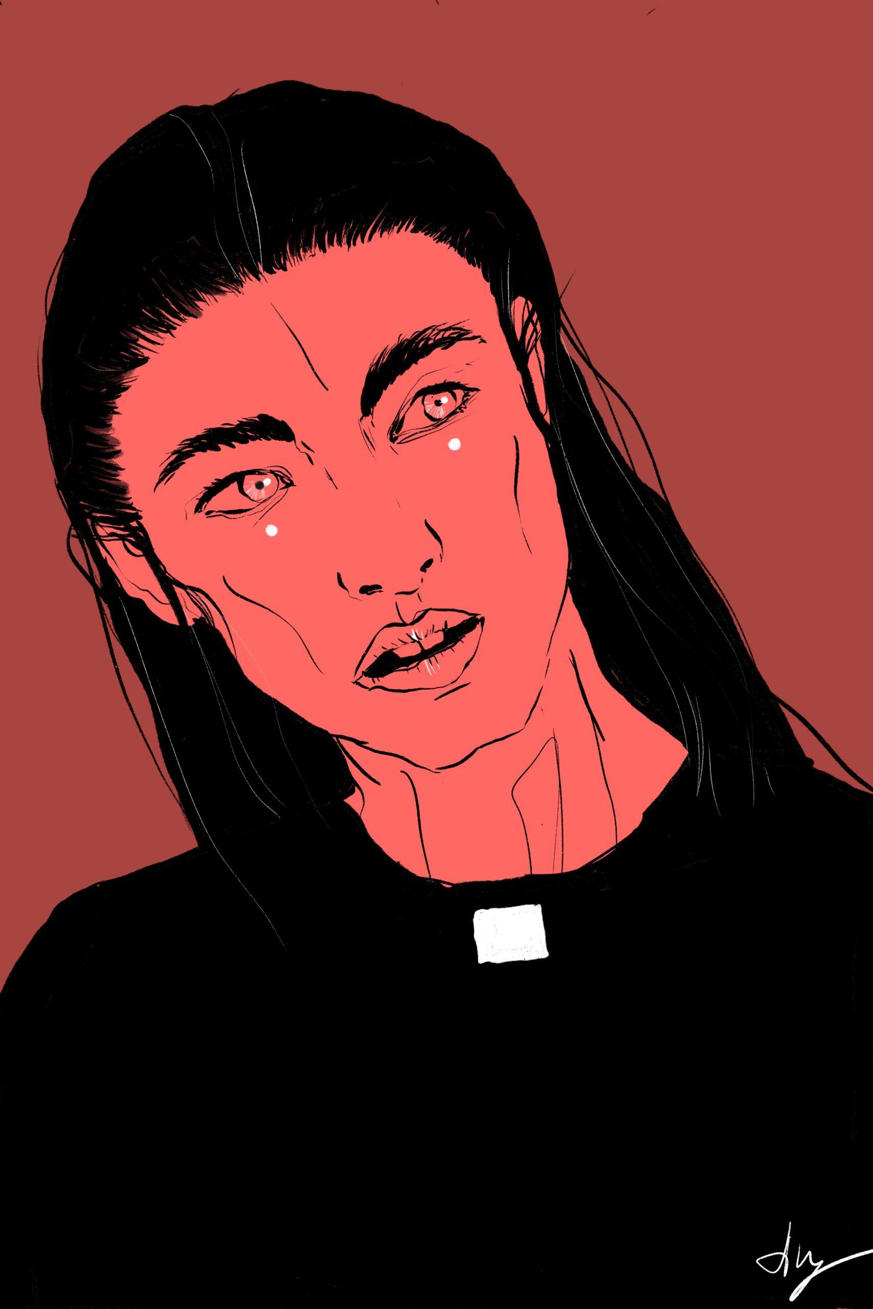 Illustration Priester Priest Man long Hair Dunkelrot Red