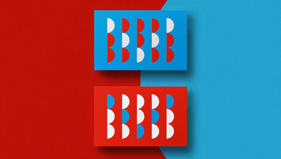 Business Cards Visitenkarten Grafisch Rot Blau Weiß Muster Geometrisch Halbkreis