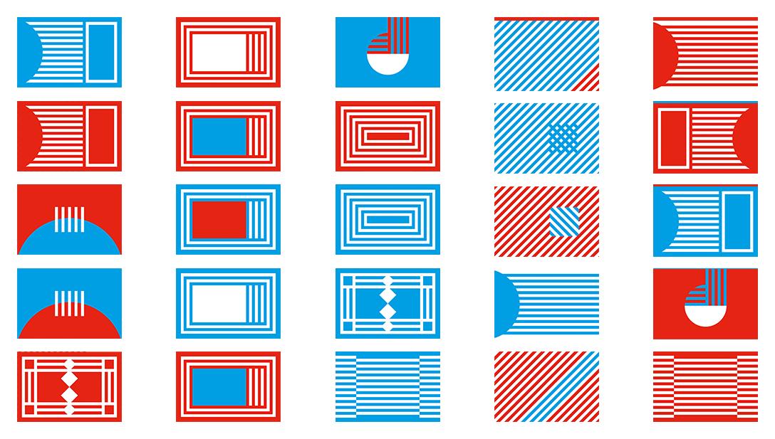 Business Cards Visitenkarten Grafisch Rot Blau Weiß Muster Geometrisch
