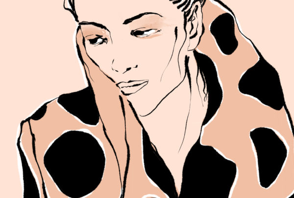Illustration Ink Procreate Frau Woman Liedschatten Beige Mantel Grafisch Punkte