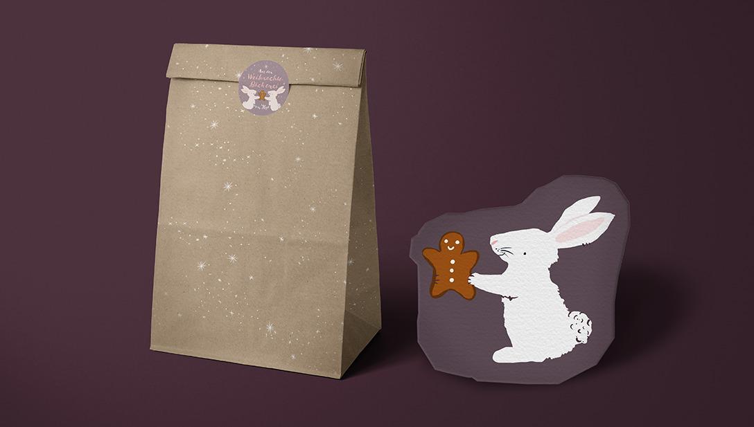 Eine Papiertüte samt Hasen Sticker