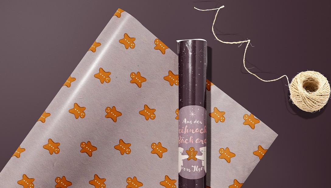 Geschenkspapier Violett Lebkuchen Männchen Musster Sticker