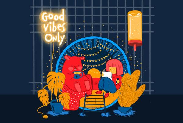 Illustration Hamsterrad Hamster Trinkflasche Good Vibes Only Lichterkette Polster Kissen Pflanzen