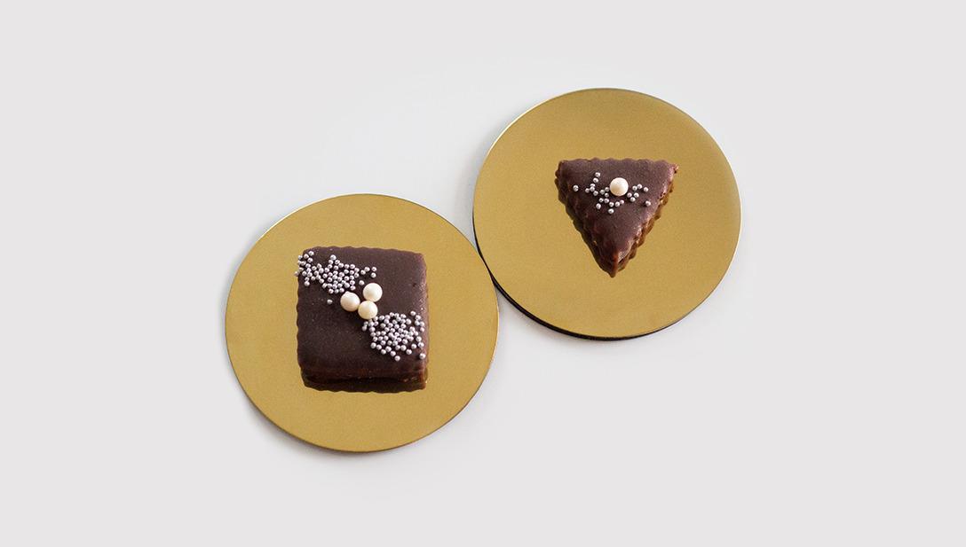 Photo Goldteller Keks Perlen Quadrat Dreieck
