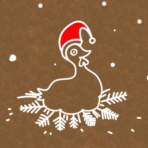 Huhn Illustration Mütze Weihnachten Schnee Nest